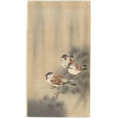 Koson Ohara, Sparrows, Rain, Nature, Birds, Kachoga, Japanese Woodblock Print