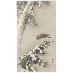 Koson, Original Japanese Woodblock Print, Traditional Japanese Art, Heron, Snow