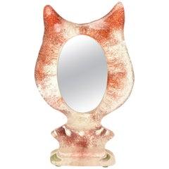 Kosta Boda Attributed Orange Red Glass Sculptural Tabletop Mirror