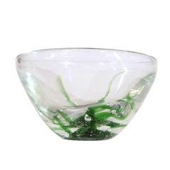 Kosta Boda Glass Bowl by Vicke Lindstrand, Seagrass