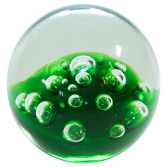 Kosta Boda Green and Clear Art Glass Collectable Paperweight