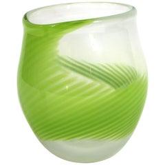 Kosta Boda Modern Green Swirl Glass Vase