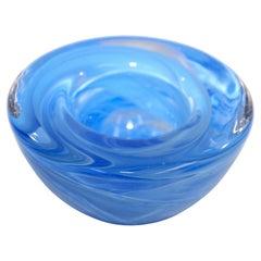 Kosta Boda Aqua Blue Crystal Candle Holder by Anna Ehrner, 1990's