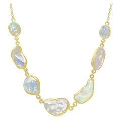 Kothari Design Freeform Mexican Opal Gold In-Line One of a Kind Necklace