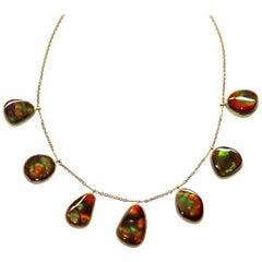 Kothari Design Rare Fire Agate Gold One of a Kind Fringe Necklace
