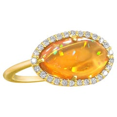 Kothari Freeform Mexican Fire Opal White Diamond Gold One of a Kind Ring