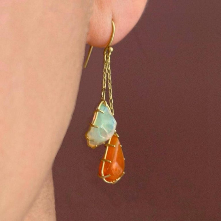 Artist Kothari Freeform Multicolored Mexican Opal One of a Kind Chain Drop Earrings For Sale