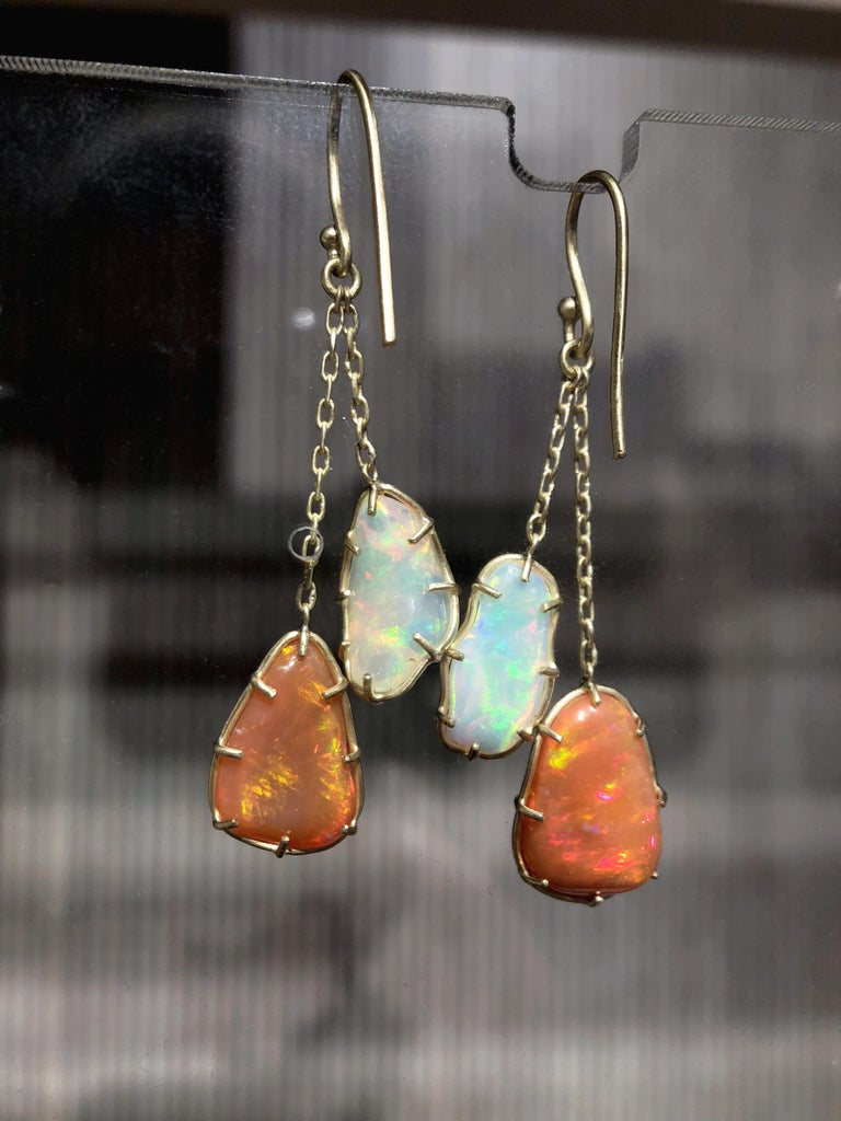 Kothari Freeform Multicolored Mexican Opal One of a Kind Chain Drop Earrings In New Condition For Sale In Dallas, TX