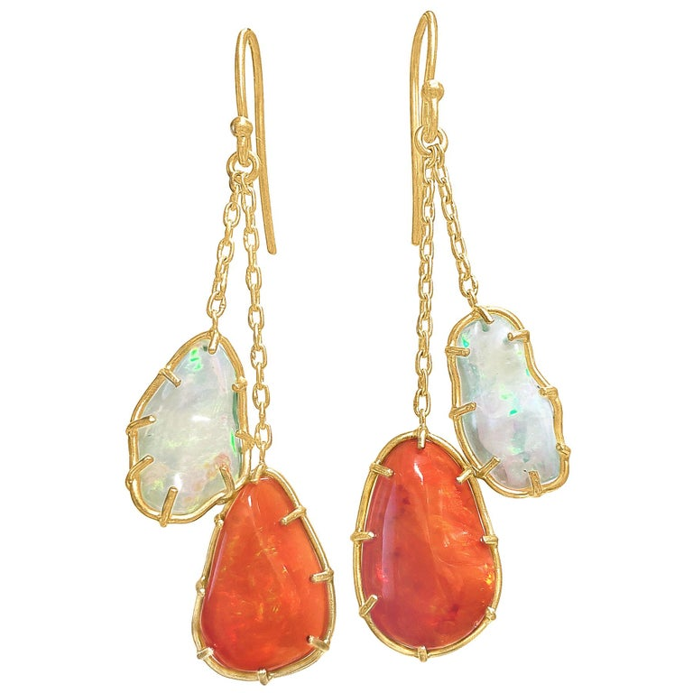 Kothari Freeform Multicolored Mexican Opal One of a Kind Chain Drop Earrings For Sale
