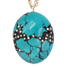 Kothari Inlaid White Diamond Turquoise Egg Long One of a Kind Necklace