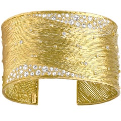 Kothari One of a Kind Brilliant and Rose-Cut White Diamond Gold Cuff Bracelet