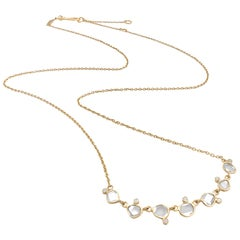 Kothari Polki Diamond Brilliant-Cut Diamond Matte Gold Curved Bar Necklace