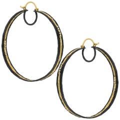 Kothari White Diamond Oversize Gold Black Rhodium Silver Surf Hoop Earrings