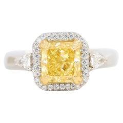 Kotlar Classico Fancy Yellow Radiant Diamond Engagement Ring 2.50 Carat Platinum