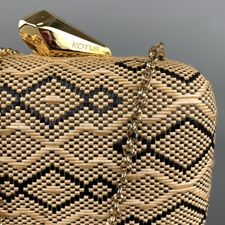 Brown KOTUR Beige & Black Fabric Woven Gold Chain Handbag For Sale