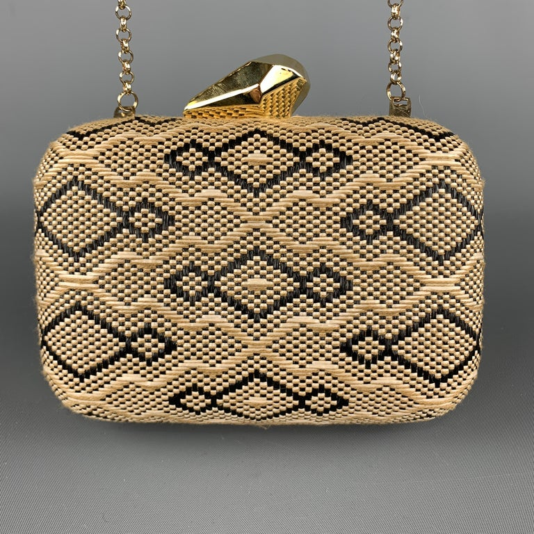 Women's KOTUR Beige & Black Fabric Woven Gold Chain Handbag For Sale