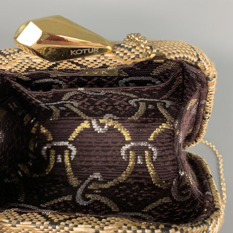 KOTUR Beige & Black Fabric Woven Gold Chain Handbag For Sale 1