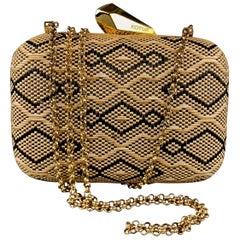 KOTUR Beige & Black Fabric Woven Gold Chain Handbag