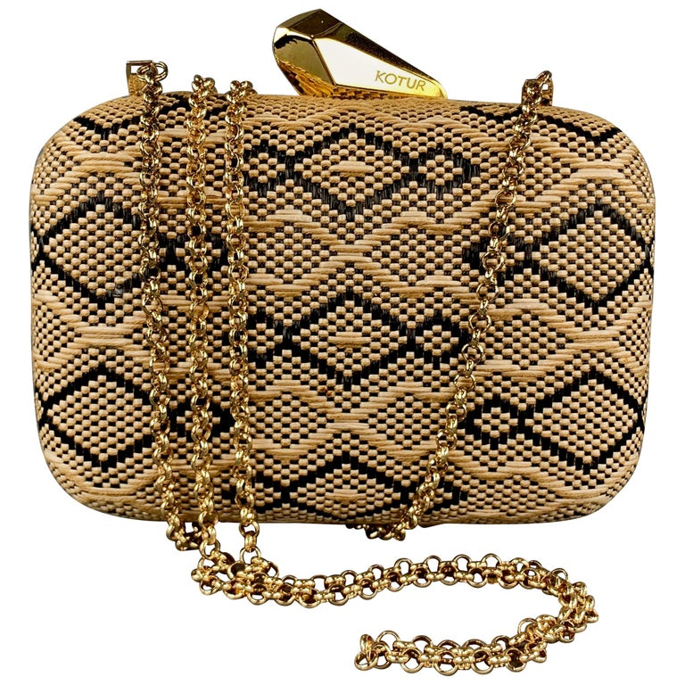 KOTUR Beige & Black Fabric Woven Gold Chain Handbag For Sale