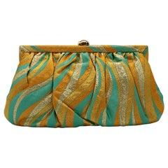 Kotur Metallic Yellow, Gold & Turquoise Silk w/ Gold Clasp & Chain Evening Bag