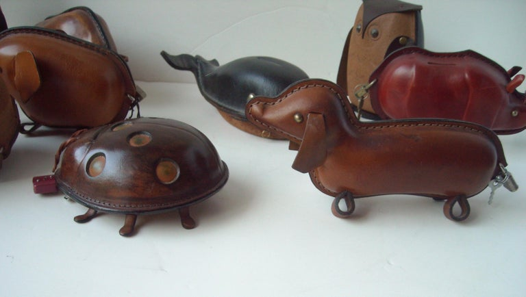 Kounoike Leather MCM, Collection of 10 Coin/Money Banks Animals In Excellent Condition For Sale In Los Angeles, CA