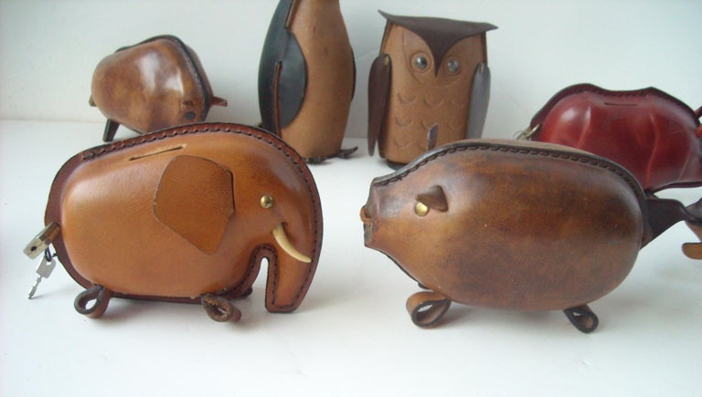 Kounoike Leather MCM, Collection of 10 Coin/Money Banks Animals For Sale 2