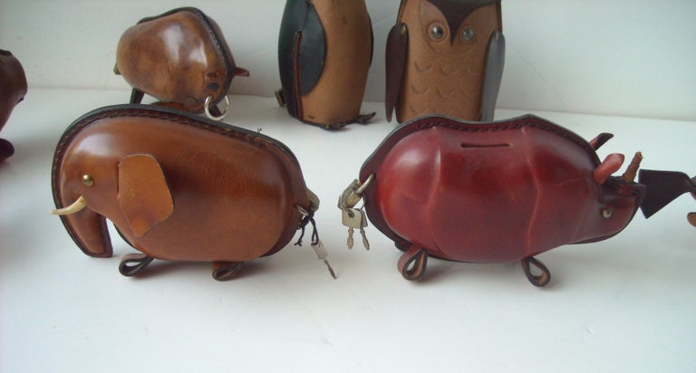 Kounoike Leather MCM, Collection of 10 Coin/Money Banks Animals For Sale 5