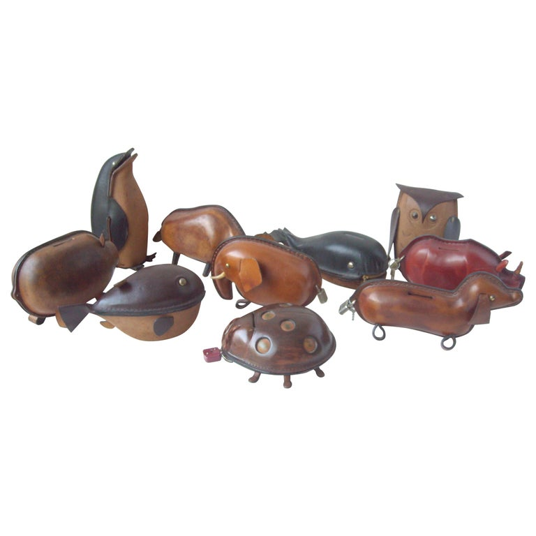 Kounoike Leather MCM, Collection of 10 Coin/Money Banks Animals For Sale