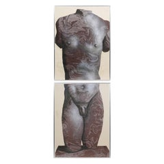 Kouros, Two Mixed Media on Paper Depicting a Young Nude Male by Harold Stevenson