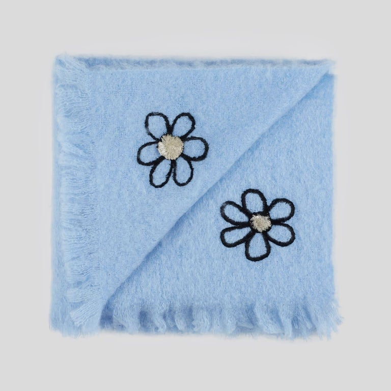 Mid-Century Modern Kowhai - Hand Embroidered sweet blue Throw Blanket For Sale