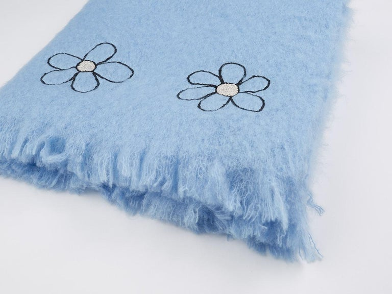 Hand-Crafted Kowhai - Hand Embroidered sweet blue Throw Blanket For Sale