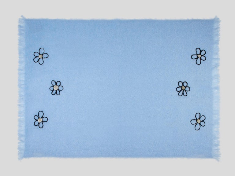 Contemporary Kowhai - Hand Embroidered sweet blue Throw Blanket For Sale