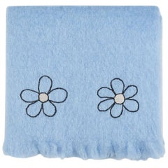 Kowhai - Hand Embroidered sweet blue Throw Blanket