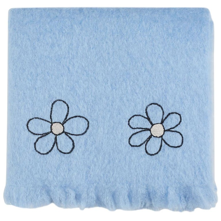 Kowhai - Hand Embroidered sweet blue Throw Blanket For Sale