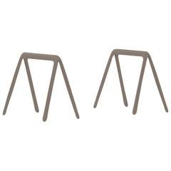 Koza Polished Beige Grey Color Carbon Steel Writing Table by Zieta