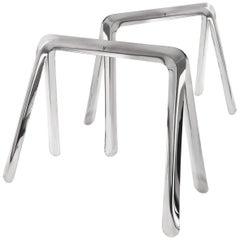 Koza Table Base in Stainless Steel by Zieta