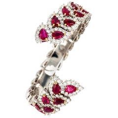 Kozi Collection Ruby and Diamond Gold Cuff Bangle 750/585