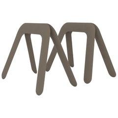 Kozka Polished Beige Grey Color Carbon Steel Writing Table by Zieta