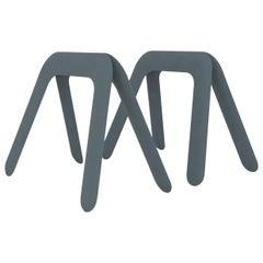 Kozka Polished Blue Grey Color Carbon Steel Writing Table by Zieta