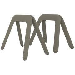 Kozka Polished Moss Grey Color Carbon Steel Writing Table by Zieta