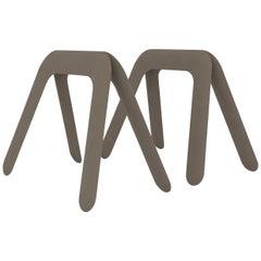 Kozka Table Base in Beige Grey Steel by Zieta