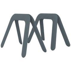 Kozka Table Base in Blue Grey Steel by Zieta
