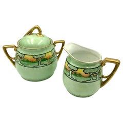 KPM Art Nouveau Hand Painted Landscape Gilt Green Porcelain Sugar and Creamer