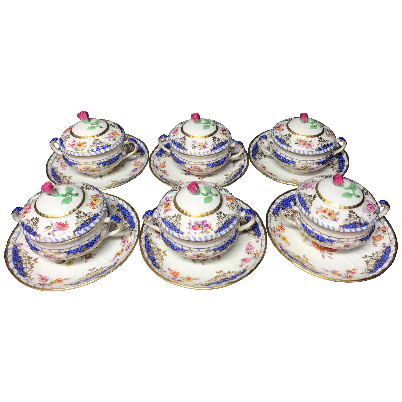 KPM Berlin 6 Soup Cups Breslauer Stadtschloss Porcelain Blue Scales