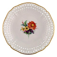 KPM, Berlin, Antique Plate / Bowl in Openwork Porcelain with Flowers