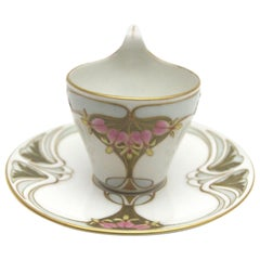 KPM Berlin Art Nouveau Mokka Cup with Gold and Enamel Painting