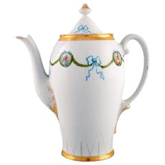 Kpm, Berlin, Coffee Pot in Hand Painted Porcelain with Blue Ribbons