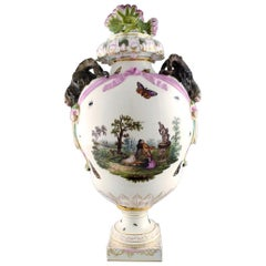 KPM, Berlin, Monumental Antique Lidded Vase in Porcelain, Museum Quality, 1780s