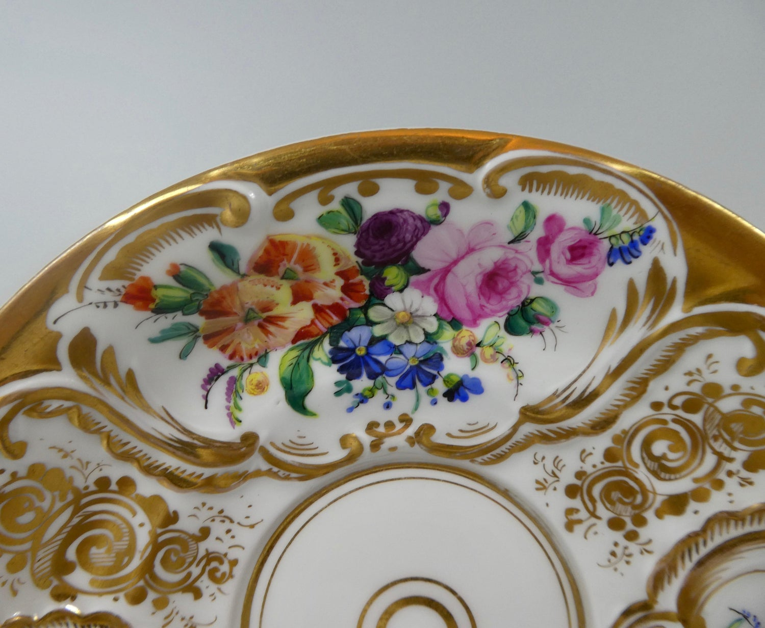 Antiques Decorative Arts Diplomatic Vintage Hand-painted Porcelain Blue Floral Plate 13cm