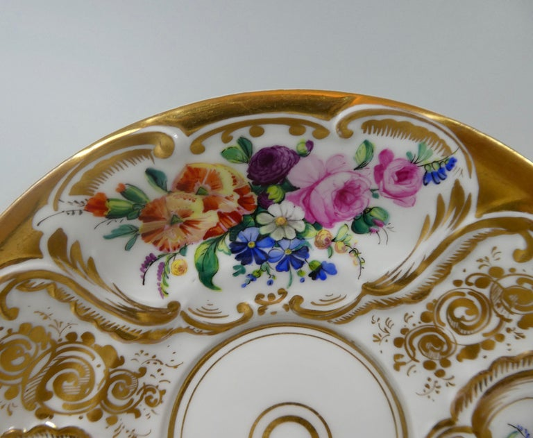Victorian KPM Berlin Porcelain Chocolate Cup, Cover and Stand, circa 1860